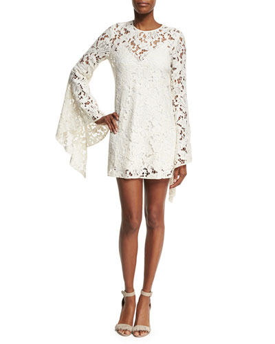 Farrow Bell-Sleeve Lace Cocktail Dress, Beige