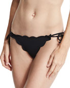 Mott Tie-Side Scalloped Swim Bottom, Black
