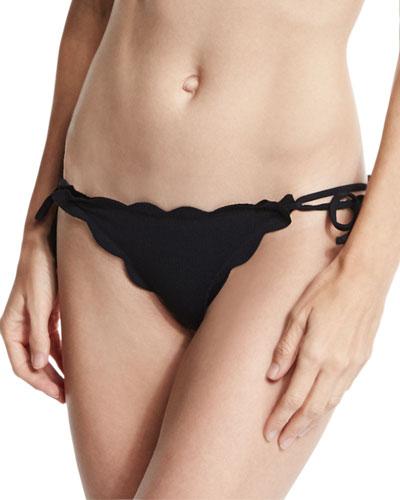 Mott Tie-Side Scalloped Swim Bottom, Black
