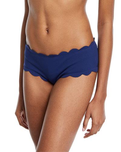 Spring Scalloped Boy-Cut Bikini Swim Bottom, Black