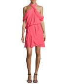 Lou Lou Draped Cold-Shoulder Cocktail Dress, Pink