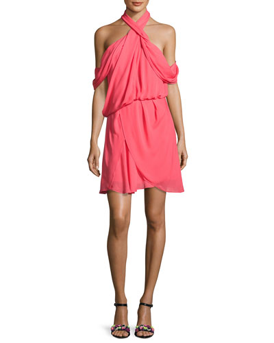 Lou Lou Draped Cold-Shoulder Cocktail Dress, Pink