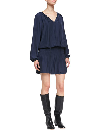 Paris Crinkled Voile Dress, Navy