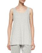 Scoop-Neck Cotton Interlock Tunic/Tank, Gray Heather, Plus Size