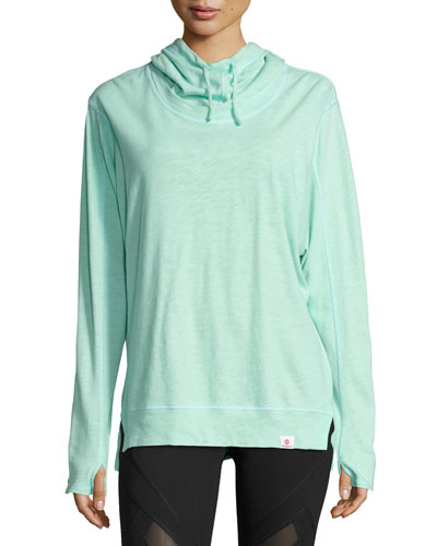 Renew Funnel-Neck Cotton Hoodie, Green