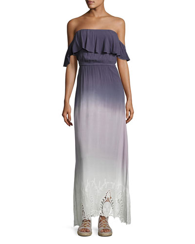 Aidy Off-The-Shoulder Ombre Maxi Dress, Purple