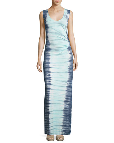 Joanna Sleeveless Tie-Dye Maxi Dress, Blue Pattern