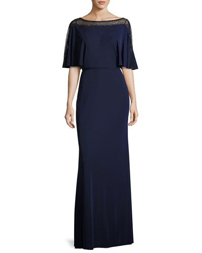 Beaded Mesh Jersey Column Gown, Navy