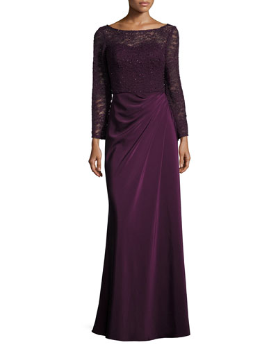 Long-Sleeve Beaded Lace Column Gown, Plum