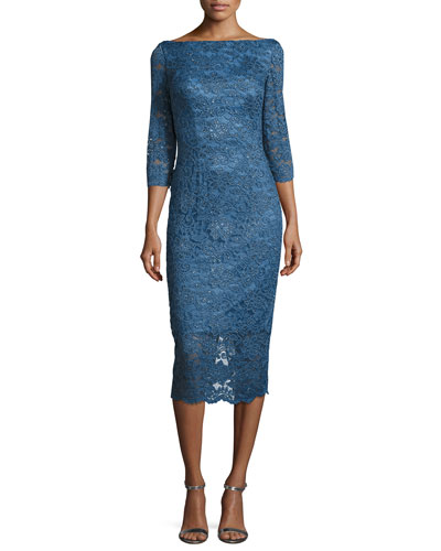 3/4-Sleeve Embellished Floral Cocktail Dress, Medium Blue