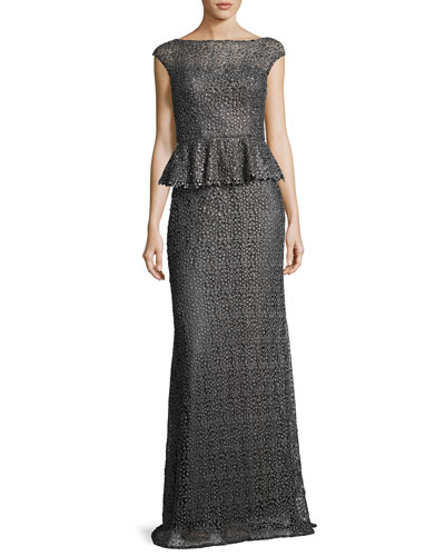 Cap-Sleeve Beaded Peplum Gown, Slate