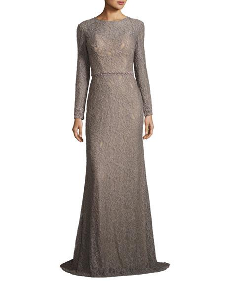 La Femme Long-Sleeve Floral Jacquard Gown, Silver