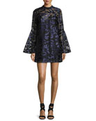 Coco Bell-Sleeve Metallic Cocktail Dress, Blue/Multicolor