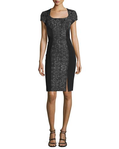 Short-Sleeve Geometric-Jacquard Cocktail Dress, Black