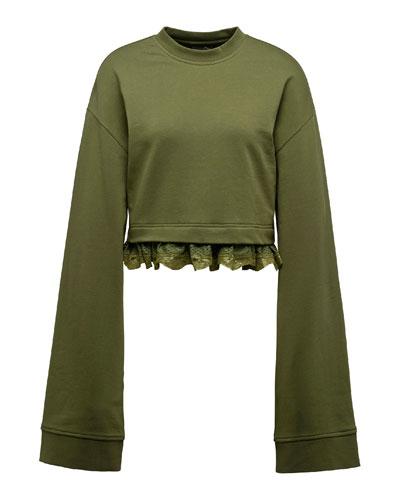 Cropped Lace-Hem Long-Sleeve Sweatshirt, Green