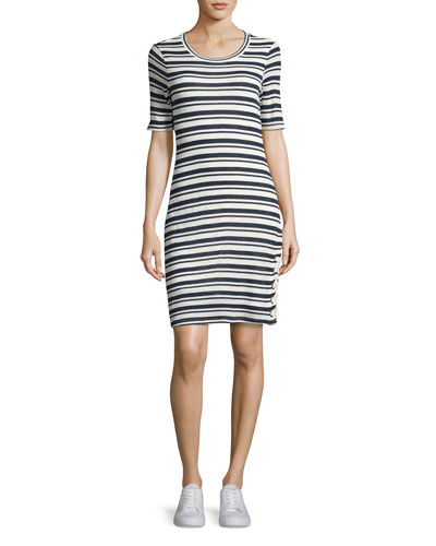 Topsail Stripe Bodycon Dress, White/Blue