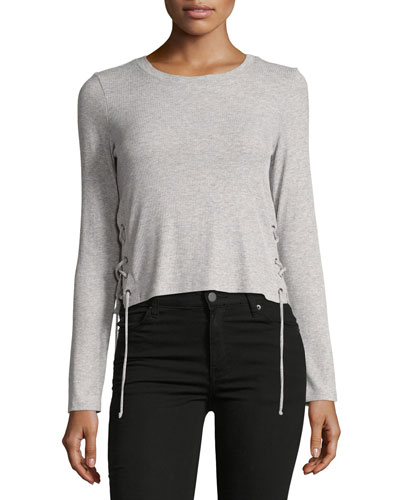 Lux Rib Long-Sleeve Lace-Up Top, Gray