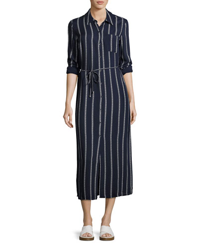 Rope Print Maxi Dress, Navy/Off-White