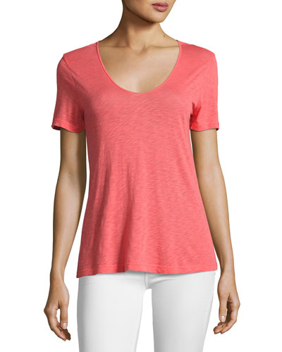 Short-Sleeve Crossover Cutout Tee, Coral