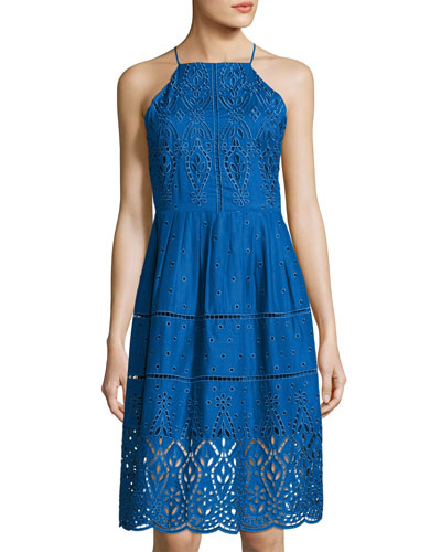 Alana Eyelet Cotton Dress, Blue