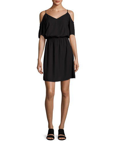 Cold-Shoulder V-Neck Dress, Black