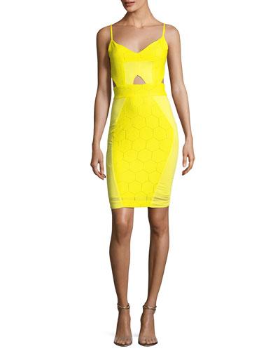 V-Neck Sleeveless Hexagon Cutout Dress