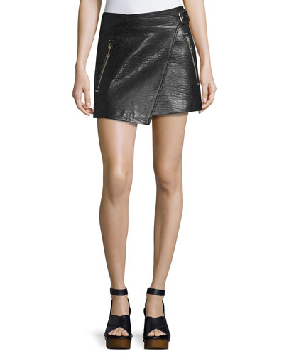 Kakili Leather Wrap-Front Mini Skirt, Black
