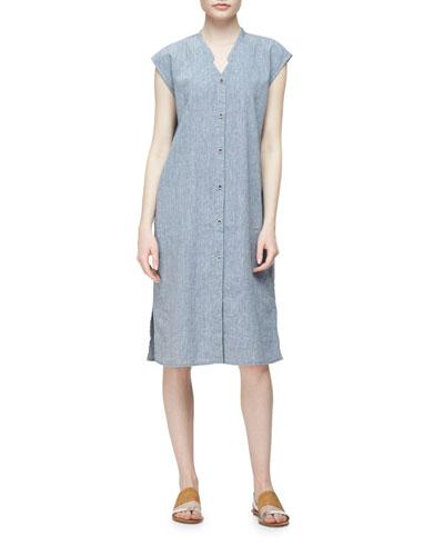 Linen-Blend Cap-Sleeve Calf-Length Dress, Plus Size