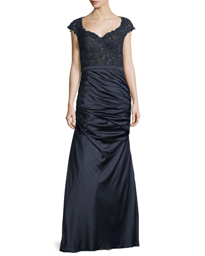 Cap-Sleeve Lace & Satin Mermaid Dress