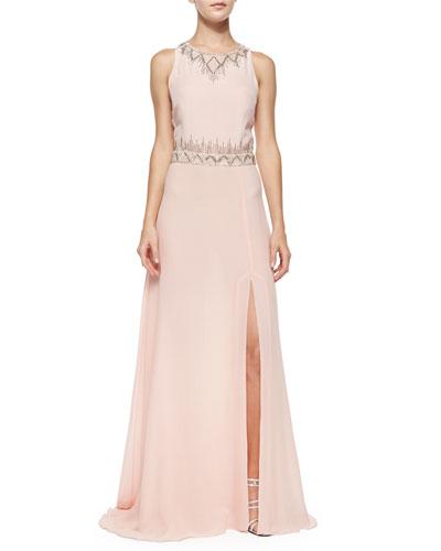 Sleeveless Geo-Bead-Trim Gown