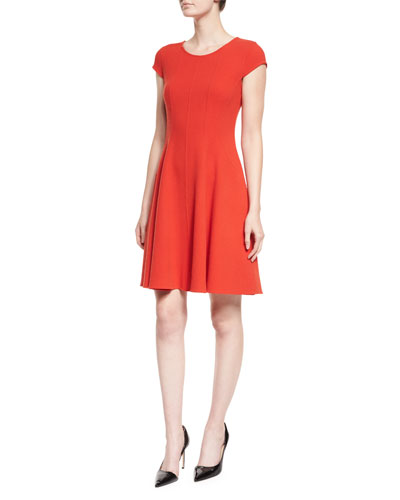 Cap-Sleeve Fit-&-Flare Dress, Red