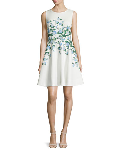 Suzie Floral-Print Fit-&-Flare Dress, Ivory/Multi