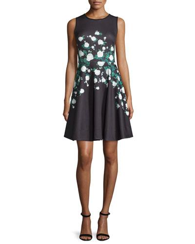 Suzie Floral-Print Dress, Black/Multi