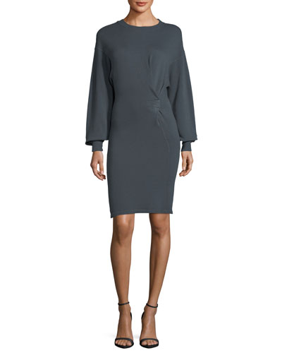 Fanley Crewneck Blouson-Sleeve Cotton-Linen Dress