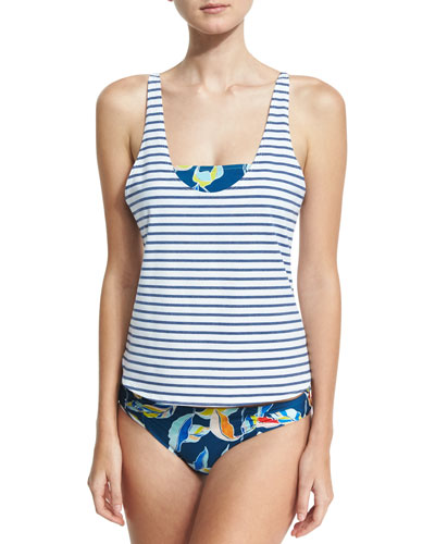 Tropical Traveler Double Dip Tankini Swim Top, Blue