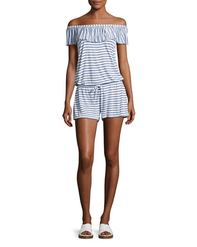 Splendid Chambray All Day Off - the - Shoulder Striped Coverup Romper, Blue