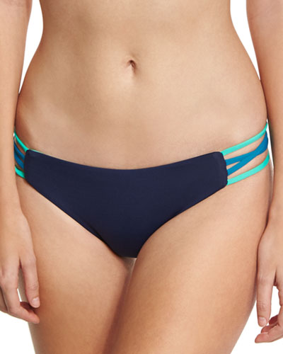 Low-Down Reversible Swim Bottom, Blue/Turquoise