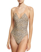 Mio Racer Mesh One-Piece Swimsuit, Leopard
