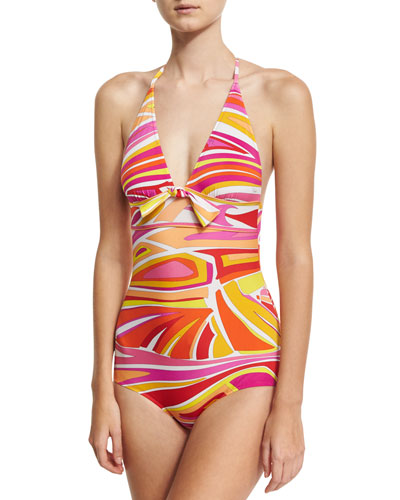 Lance One-Piece Swimsuit with Front Knot Detail, Pink/White/Yellow