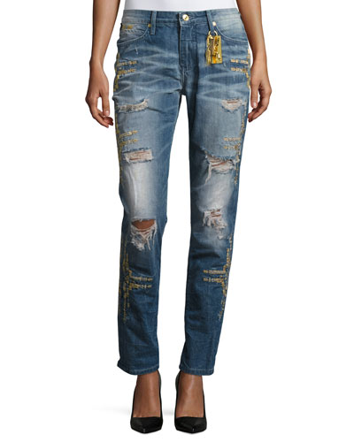 Distressed Boyfriend Denim Jeans, Indigo