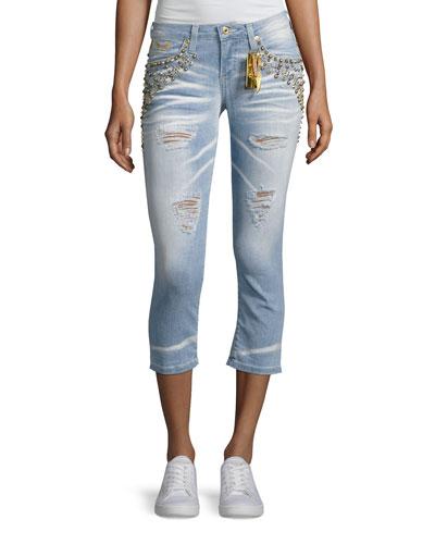 Marilyn Studded Destroyed Capri Jeans, Light Blue