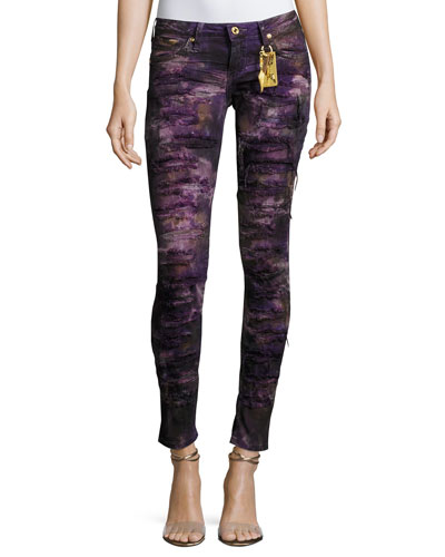 Marilyn Distressed Denim Jeans, Purple