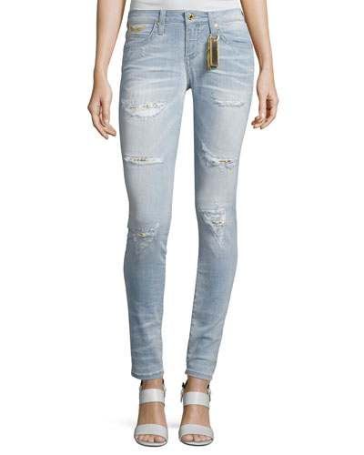 Marilyn Distressed Studded Denim Jeans, Light Blue