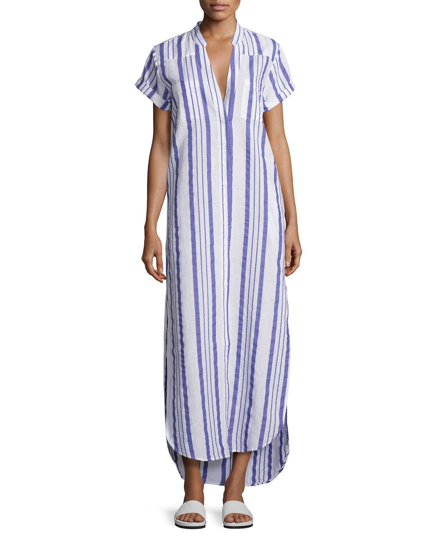 Kim Button-Front Coverup Maxi Dress, Blue/White