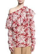 Floral-Print One-Shoulder Ruffle Top, Crimson