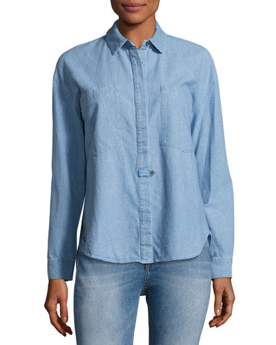 Hidden Placket Chambray Shirt, Light Blue