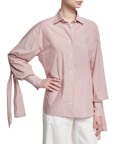 Striped Bishop-Sleeve Tie-Cuff Shirt, Red/White