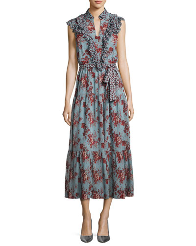 Rose-Print Sleeveless Belted Dress with Ruffle Trim, Blue