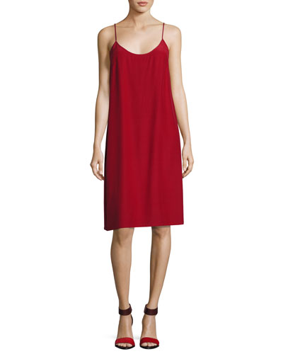 Silk Crepe Slip Dress, Crimson