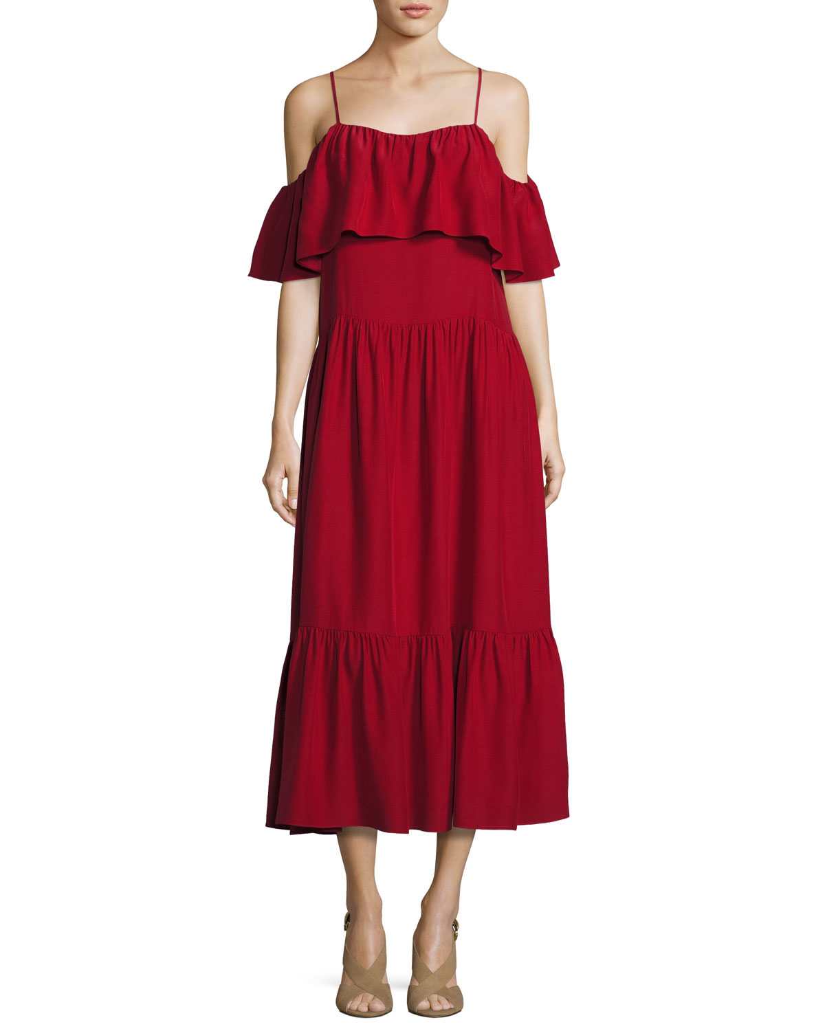Off-the-Shoulder Ruffled Midi Dress, Crimson